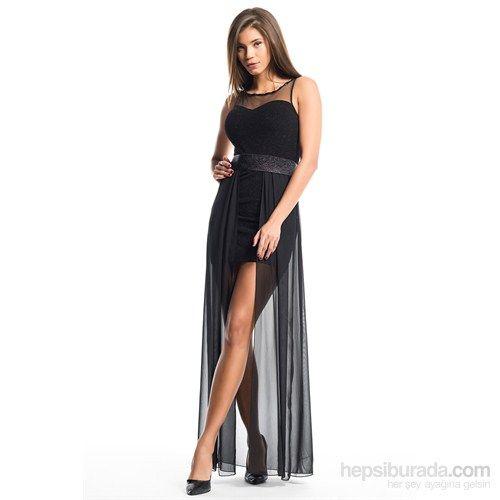 İroni Kalp Yaka Mini Üstü Şifon Siyah Abiye Elbise Fiyatı