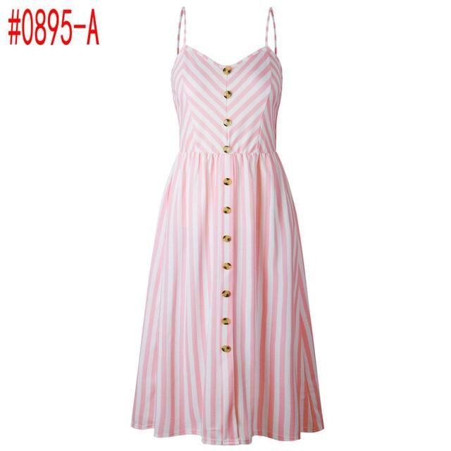 Summer Women Dress 2019 Vintage Sexy Bohemian Floral Tunic Beach Dress Sundress Pocket Red White Dress Striped Female Brand Ali9