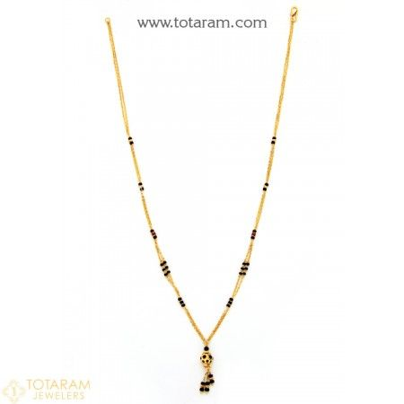 22K Gold Necklace for Women with Black Beads - 235-GN3069 - Buy this Latest Indian Gold Jewelry Design in 6.650 Grams for a low price of  $451.99