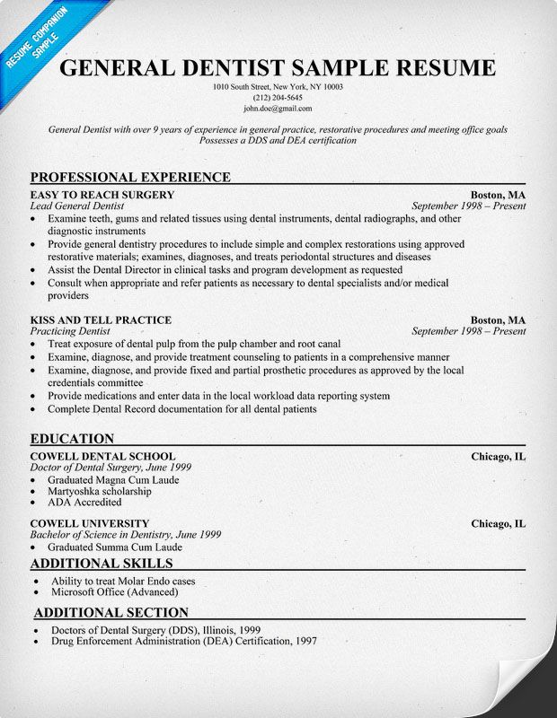 general dentist resume sample  dentist  health