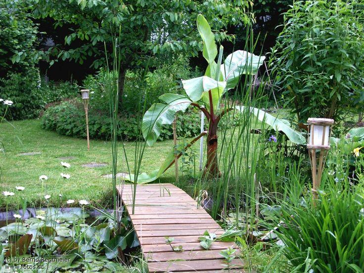 garten teich blumen pflanzen bl ten br cke palme b sche garten pinterest garten and gardens. Black Bedroom Furniture Sets. Home Design Ideas