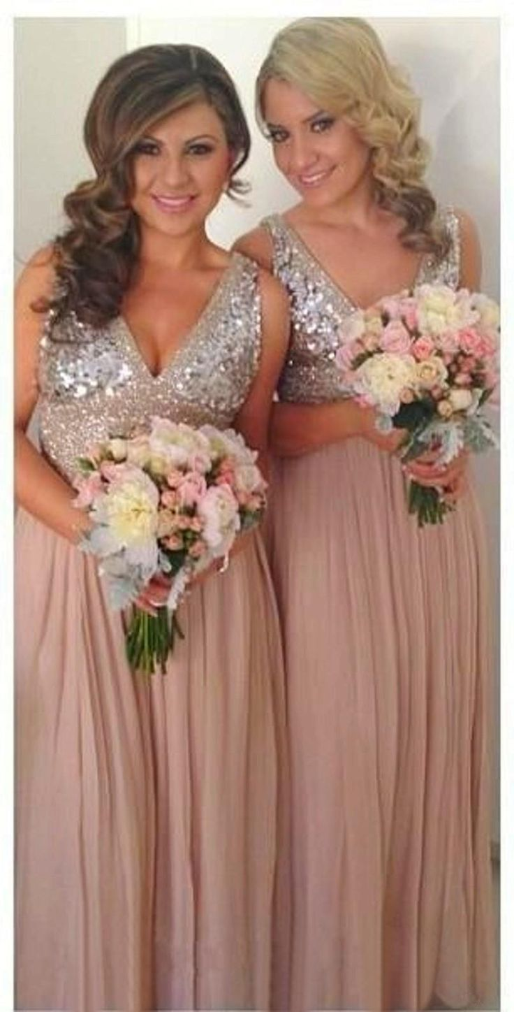 Sequins Chiffon V Neck Bridesmaid Dresses Plus Size Rose Gold Sparkly Maid of Honor Bridal Wedding Party Gowns Maternity 2015 Custom Made