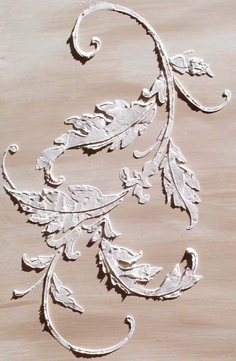 Raised Plaster Acanthus Flourish Stencil creates stunning raised wallpaper effects on your walls or cabinets