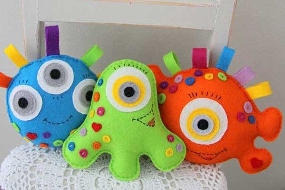 Little Monster Plush Toys by ThePinkRoosterShoppe on Etsy, $16.00