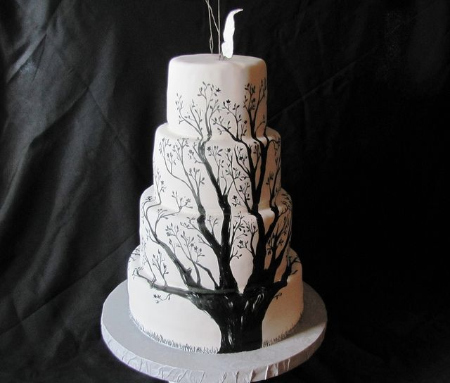 Side of Tree Wedding Cake by EB Cakes, via Flickr: Trees Wedding Cakes, Cakes With Branches, Branches Cakes, Trees Branches, Cakes Design, Wedding Cakes Trees, Sugar Leaves, Trees Cakes, Homemade Wire