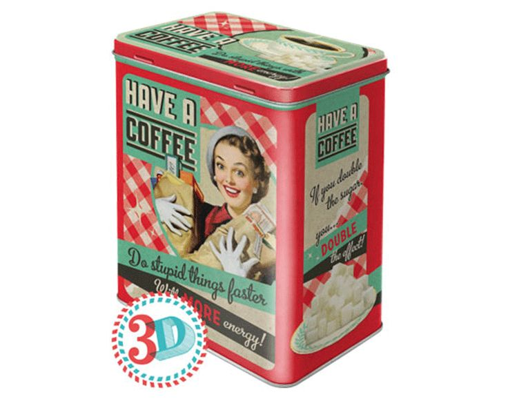 Kaffeburk RETRO COFFEE plåtburkar