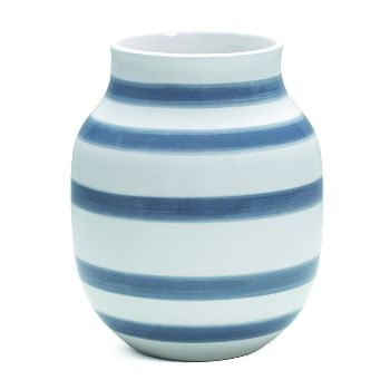 Kähler Design Omaggio Vase - Light Blue: As an homage to Kähler and the demands of ceramics for form and precision, the two designers Ditte Reckweg and Jelena Schou Nordentoft, have reinterpreted classic raw stripes.   - Coarse brush strokes  - Modern shape