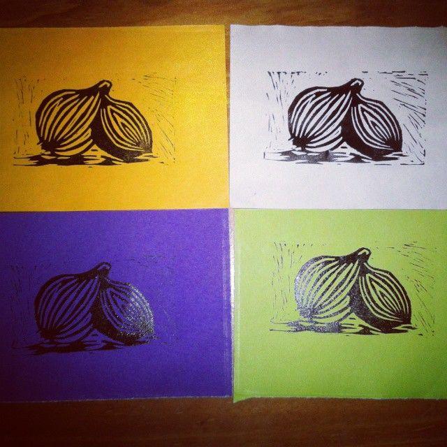 Cebollas #Linocut #cebollas #onion #colores #grabado