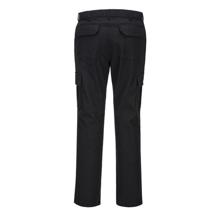 Pantalón Stretch Slim Combat Negro detalle trasero.