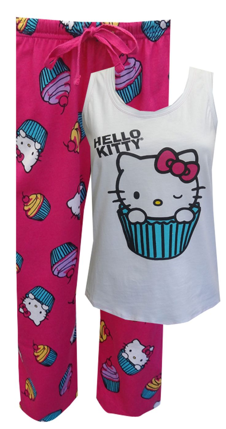 Hello Kitty Cupcake Pajamas So sweet! These pajama sets for women feature a winking Hello Kitty sitting in a cupcake wrapper. A...