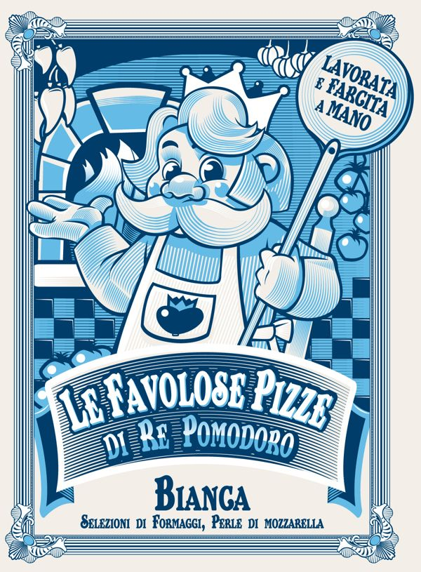 Packaging designed by Manifactory: Le Favolose Pizze di Re Pomodoro. Client Pizza Margherita