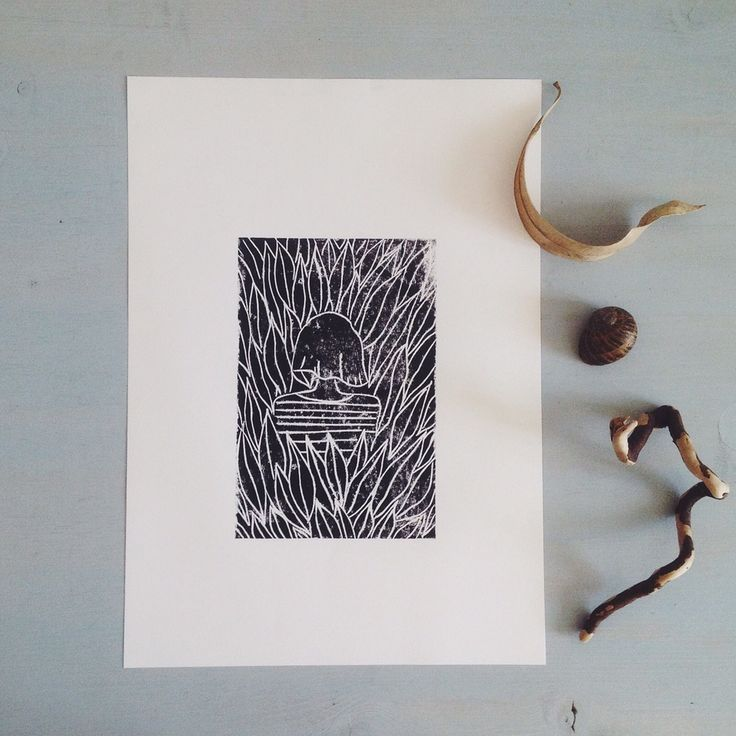 into the wild linocut print A4 - modern botanics