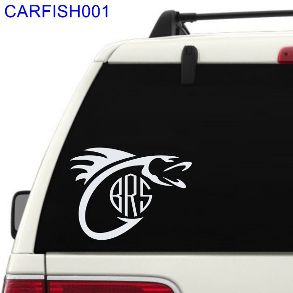 Fish Hook with Monogram Car Window Decal