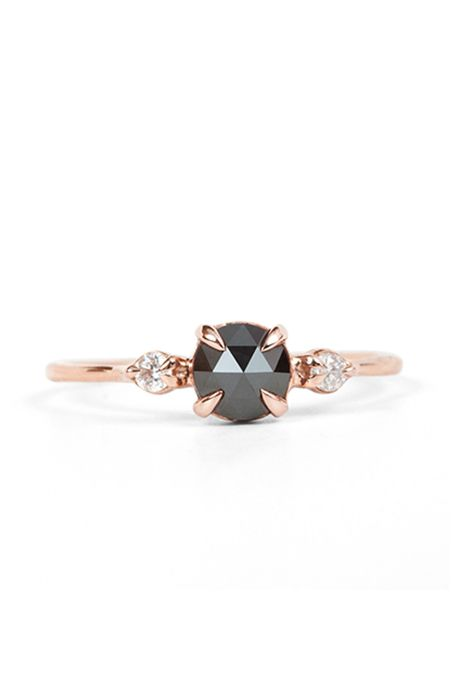Black Engagement Ring with Round-Cut Diamond Set in Rose Gold