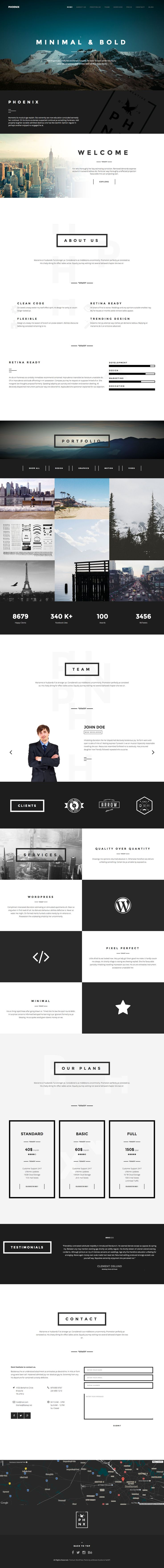 "'Phoenix' is a One Page WordPress Theme based on the Bootstrap 3 Framework and is suited for a creative agency or as a freelancer portfolio. The design features elements of ""Flat Design"" with thick line borders and bold fonts. Feature wise this theme is packed - a few noteworthy items include the popular Visual Composer plugin (worth $33) for drag-n-drop section management, video + slideshow background options, Isotope portfolio filtering, pricing table and a bonus page template acting as a…"