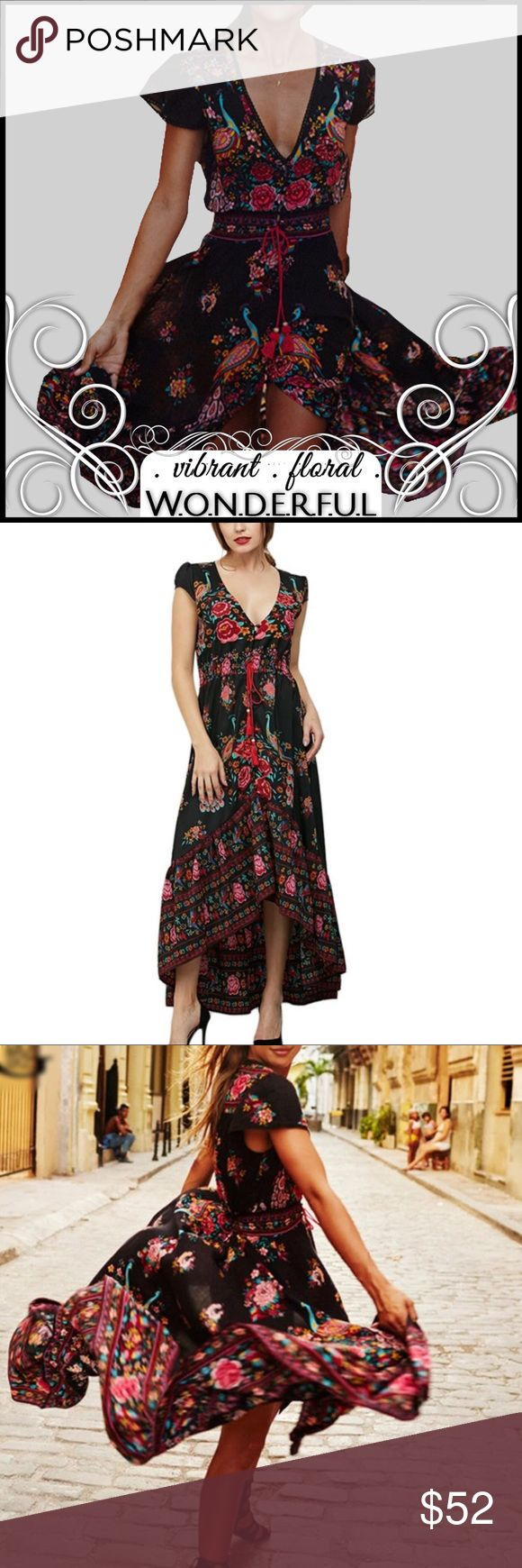 Hi-Lo Print Dress Hi-Lo Print Dress; Hi-lo with a Ruffle at bottom; button closures up front;cap sleeve with lace detailing; polyester; Boutique Dresses