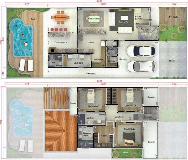 projeto sobrado 160m² com cozinha americana - Pesquisa Google