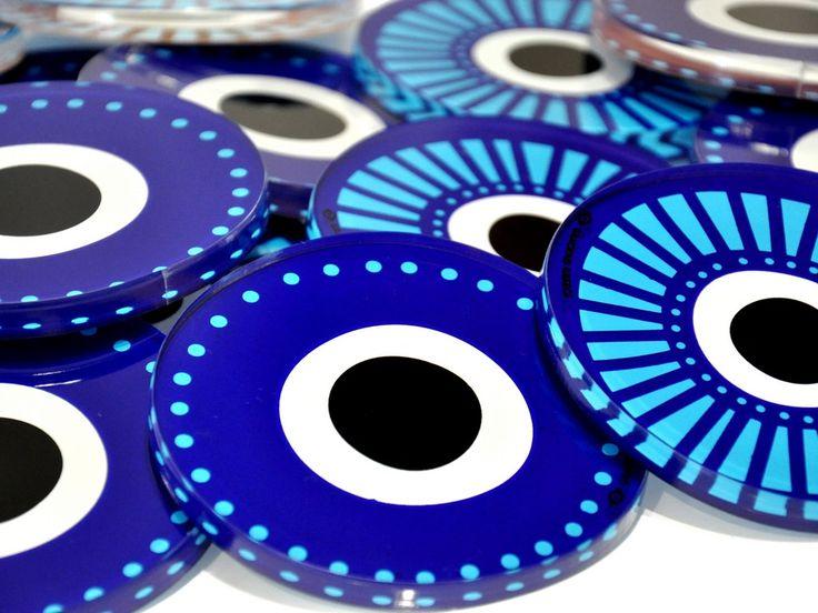 Evil eye | Plexiglass coaster | screenprinted & lazer cutted | 10 x 10 x 0.8 cm