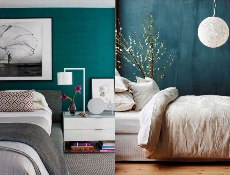 akzentwand im schlafzimmer bettwsche und leuchten in wei und grau - Wandfarbe Petrol