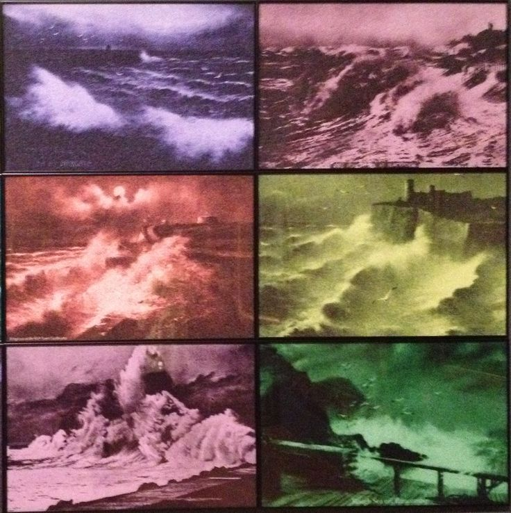 """Rough Times"" 2010 by Susan Hiller in Manchester Art Museum. In this series of prints Hiller has re-painted Victorian ""Rough Sea"" postcards to create a dreamlike atmosphere."