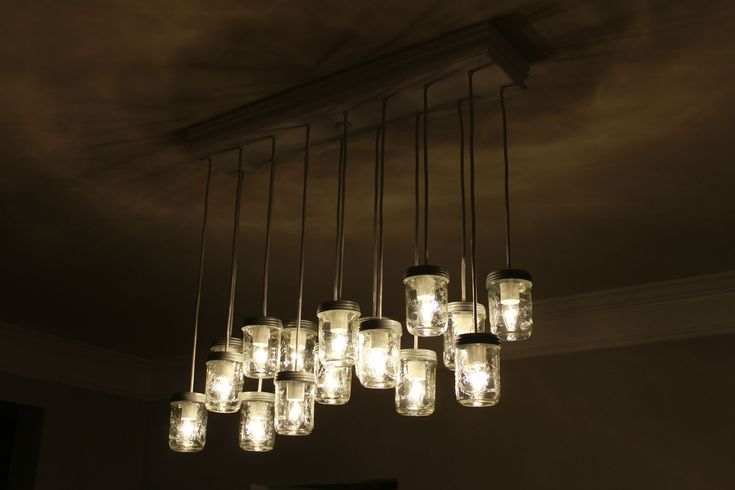 instructions to make a mason jar chandelier