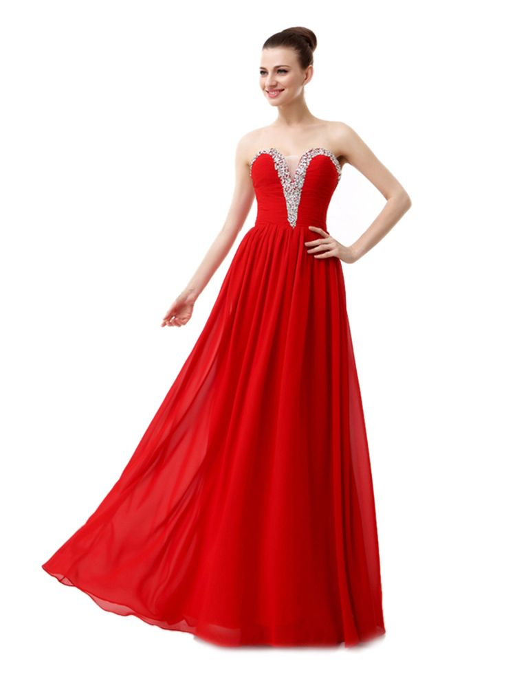 A-line Sweetheart Sleeveless Sequins Floor-length Red Chiffon Prom Dress LF12809