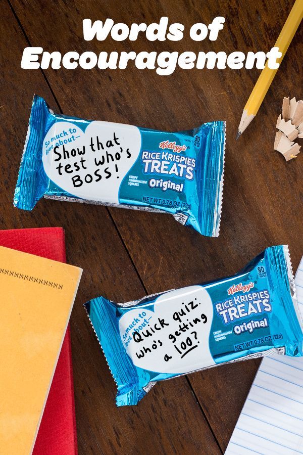 Whether it's a test day, game day, or just a Wednesday —Rice Krispies Treats has the sweetest ideas for packing kids lunch boxes and easy after school snacks —they're the perfect  midday  pick up!  Add a helpful reminder  to your Rice Krispies Treats wrappers  and help your kids remember  the important stuff... like how much you care!