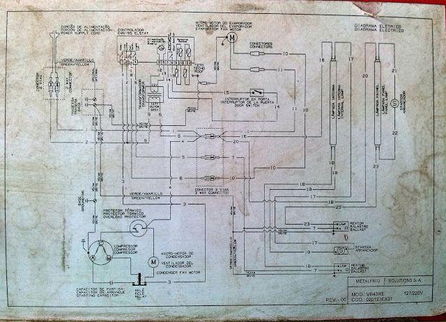 Como Consertar Seu Eletrodoméstico: BRASTEMP - CONSUL e ELECTROLUX: Diagrama - Esquema Elétrico Freezer Metalfrio VB43RE