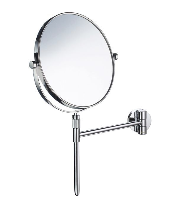 FK432 - Shaving and Make-up Mirror Detachable in Polished Chrome. Wallmount. Two sides, normal and magnifikes 5 times
