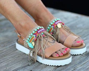 Deslice sobre sandalias artesanales sandalias de cuero | Etsy