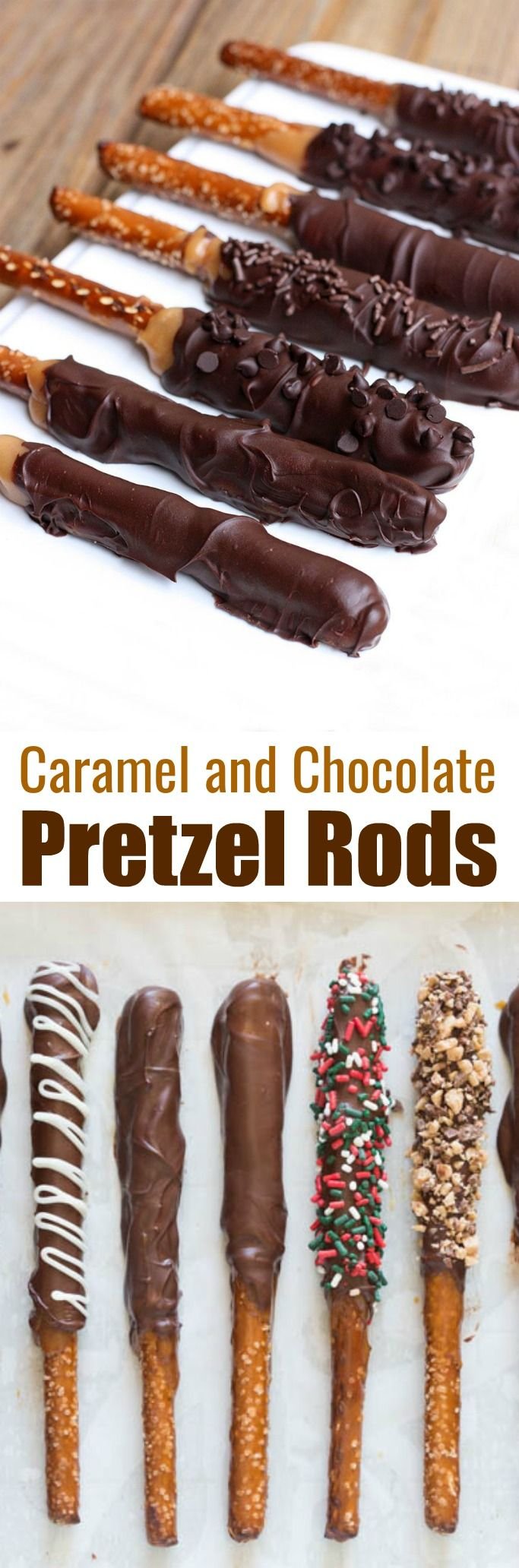 Caramel and Chocolate Dipped Pretzel Rods make the BEST holiday treat and gift for neighbors, teachers and friends at Christmas or any time of year! Made with homemade caramel, semi-sweet chocolate and your favorite toppings. | tastesbetterfromscratch.com via @betrfromscratch