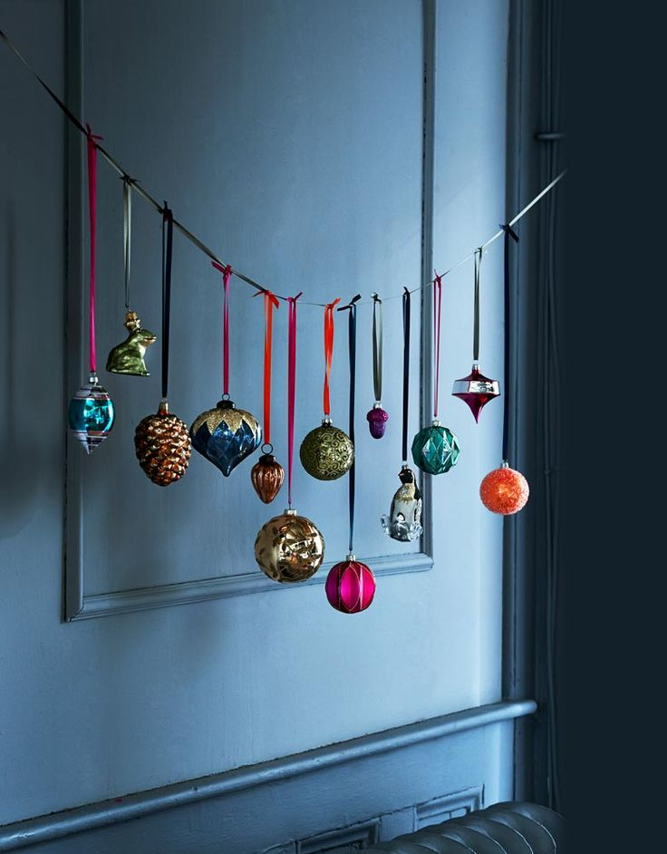 For those very favoruite baubles you don't want to lose amongst the tree: a ribbon, hung high, becomes a festive installation.