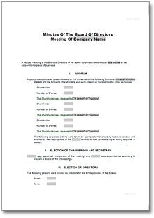 corporate minutes for board of directors meeting template to