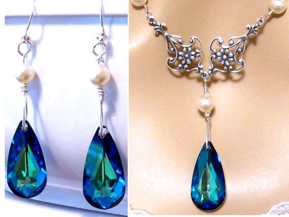 Hey, I found this really awesome Etsy listing at https://www.etsy.com/uk/listing/89780345/blue-bridal-jewelry-set-peacock-wedding