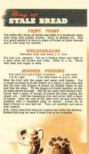 Fairy Toast/Wheatmealies/Summer Pudding recipes for using up stale bread (Eating for Victory: Original Second World War Ration Recipes)