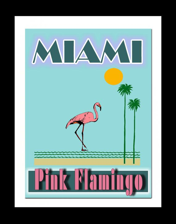 dessin miami beach flamant rose | Miami Pink Flamingo Art Print, Art rétro Miami, Miami Vice Art Print ...