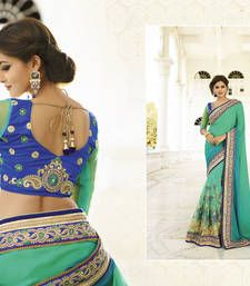 Buy Sea Green embroidered georgette saree with blouse georgette-saree online