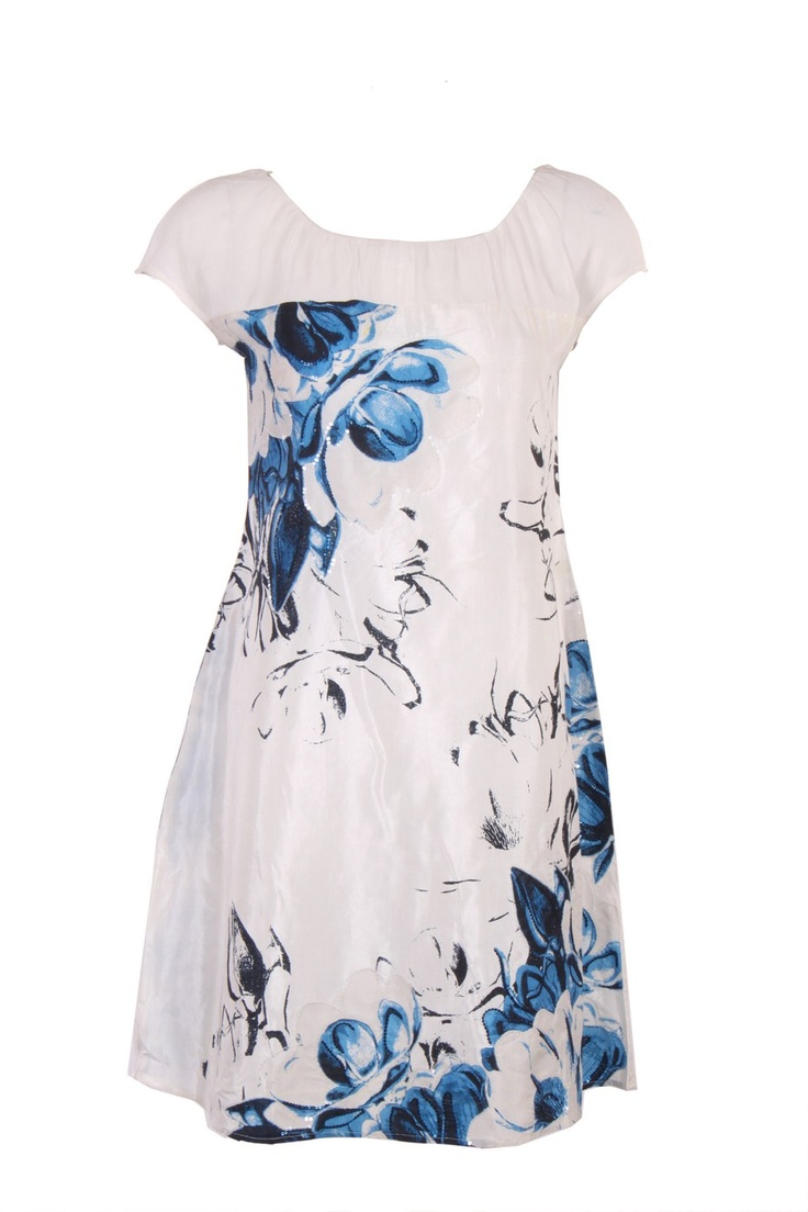 White Floral Printed Kurta In Shantung Fabric; U Neck; Short Sleeve; Sequin Embellishment; 36.5 Inches In Length #Wishful #Clothing #Fashion #Style #Kurti #Wear #Colors #Apparel #Semiformal #Print #Casuals #W for #Woman