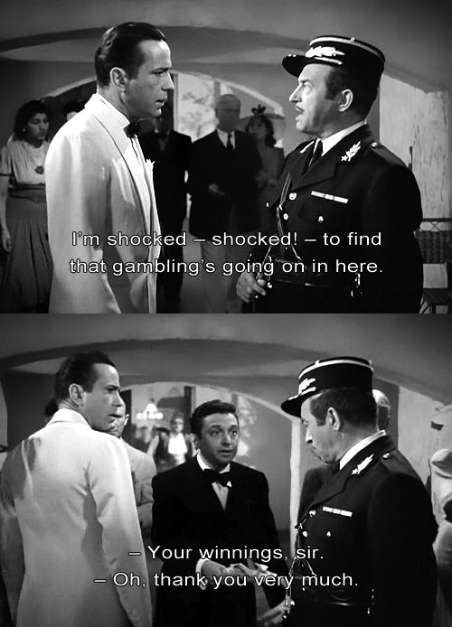 Humphrey Bogart and Claude Rains in Casablanca (1942)