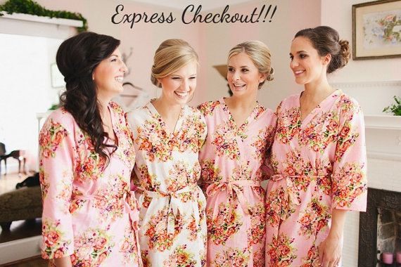 Pink Bridesmaids Robes Kimono Crossover Robes Spa by silkandmore