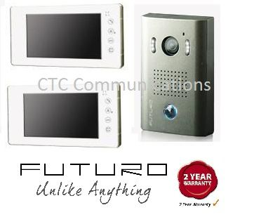 "Futuro 7"" Colour intercom with two screens surface mounted design. http://www.ctccommunications.com.au/intercoms/intercom-kits/colour/futuro/two-monitors.html"