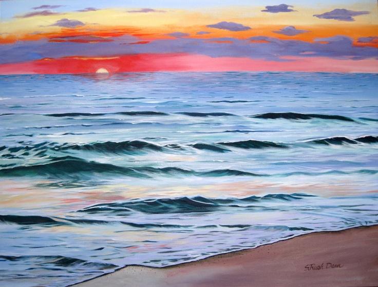 Gulf Setting Sun, acrylic, 36X48  by my friend Shirley Rush Dean. fantastic!