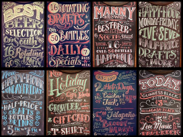 Love the feel of these chalk boards, reminds me of a good old English Pub! christian cantiello