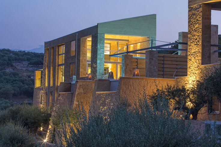 The impressive exterior of Olea villa in Crete