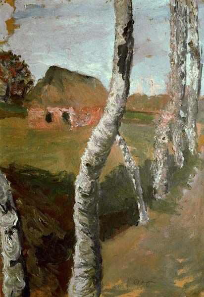 ۩۩ Painting the Town ۩۩ city, town, village & house art - Paula Modersohn-Becker | Path along birch trees