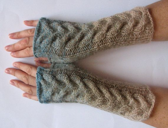 SALE Fingerless Gloves Gray Blue Beige Brown wrist by Initasworks