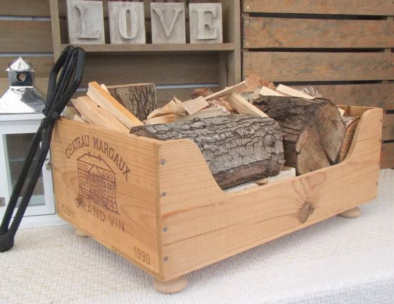 Log box  wooden wine box-kindling crate by BaxterandSnowwinebox