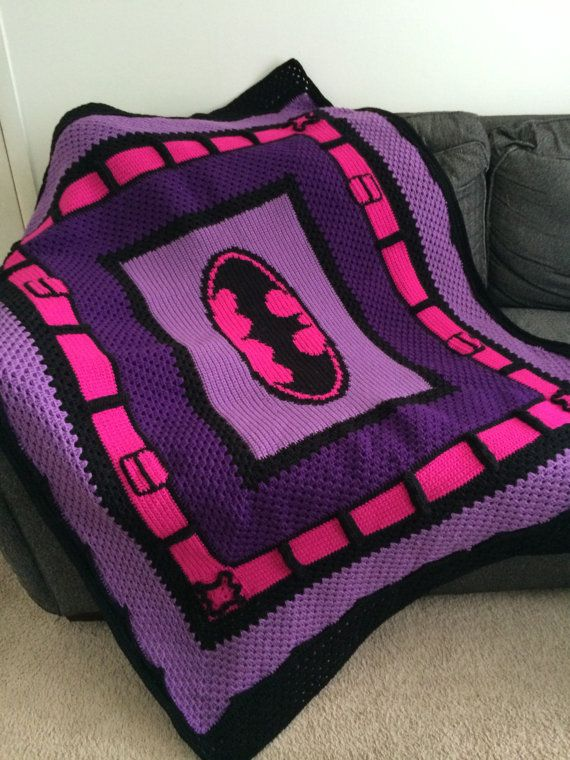 Crochet Batman Blanket Pattern Only .  Please note this is a download of the PATTERN ONLY and you will not be receiving the finished product.
