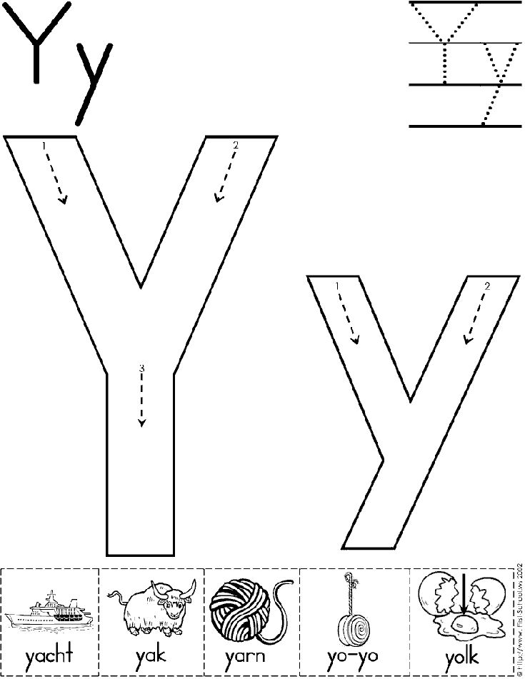 Alphabet Letter Y Worksheet | Standard Block Font | Preschool Printable Activity