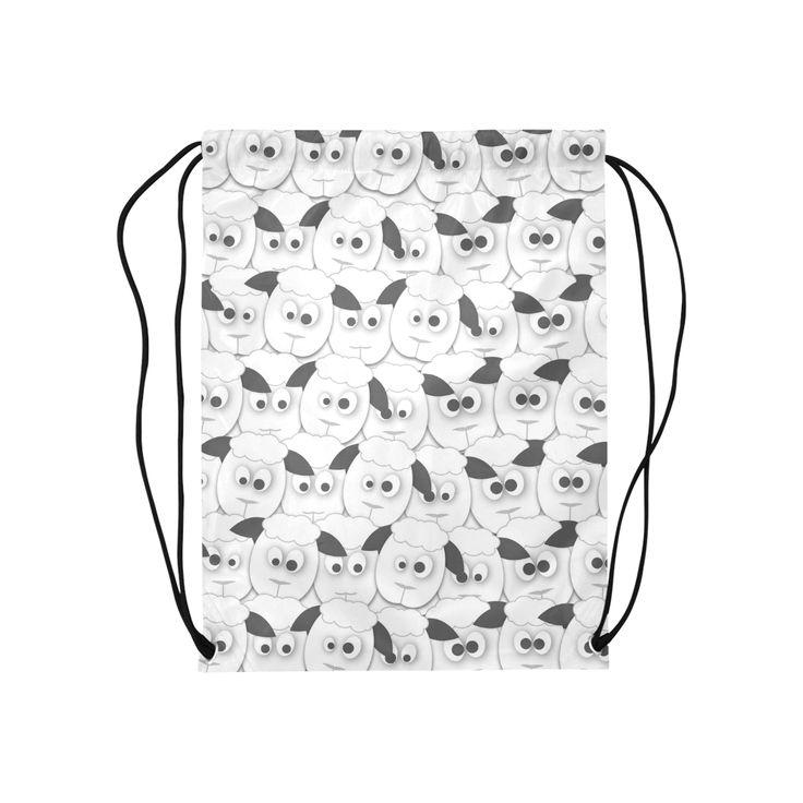 Crazy Herd of Sheep Medium Drawstring Bag Model 1604 (Twin Sides) 13.8